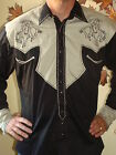 ROCKMOUNT 1946's Style New Long Sleeve BRONC Western Shirt Ivory/Black Embroider