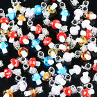 20/50/100PCs Colorful Lampwork Glass Mushroom Charm European Dangle Bead Finding
