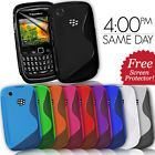 GRIP S-LINE SILICONE GEL CASE FITS BLACKBERRY CURVE 8520 9300 FREE SCREEN GUARD