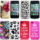 For Apple iPhone 4S 4G 4 Stylish Flower Paws Print Soft & Hard Mobile Phone Case