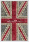 Union Jack British Flag PATCHWORK RUG made from OVERDYED Vintage Turkish Carpets