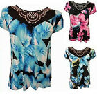 NEW LADIES PLUS SIZE STUD DETAIL NECK LINE BRIGHT FLORAL PRINT TUNIC TOPS 14-28