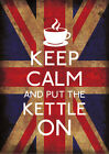 Union Jack Keep Calm And Put Kettle On PosterA1 A2 A3 A4 KC065 Other Styles