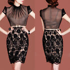 Elegant Ladies Chic Vintage Evening Party 50's Black Lace Wiggle Dress 6-14 056