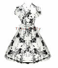 H&R LONDON 50's TEA party FLORAL vintage DRESS WHITE SIZE 8-18