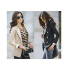 New Lady Korean Fashion Lapel Double-Breasted Slim Blazer Jacket Coat Women D23