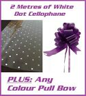 2m of White Dot Cellophane + Any Colour Large 50mm Pull Bow - Hampers Gift Wrap