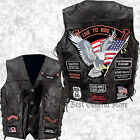 Black Leather Mens LIVE TO RIDE Motorcycle Biker Vest Lace Sides with Patches