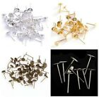 100pcs Silver/Golden/Bronze Plated Metal Round Flat Pad Earring Stud findings