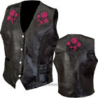 Womens Ladies Black Leather Plus Vest with Rose Motorcycle Biker Braided Trim