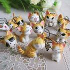 1x New Lovely Cat Keychain phone Bag Charm Hot Yellow Green Gray Color