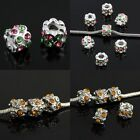 Big Hole Crystal Rhinestone Flower Tube Charms European Bracelet Beads Findings