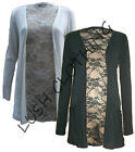 32A-LONG SLEEVE LACE BACK OPEN BOYFRIEND DROP POCKET CARDIGAN TOP-8,10,12,14-NEW