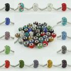 Wholesale Rhinestone Crystal Resin Big Hole Loose Bead Fit Charm Bracelet 9x13mm
