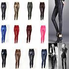 Women's PU Leather High rise Abs Waist shaper Pants Tights slim fashion