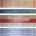 Personalised 50th Birthday Polyester Ribbon Banner 1m Long x 100mm Fast Despatch
