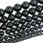 """Smooth Round Black Agate Beads 15.5"""" 4 6 8 10 12 14 16mm Pick Size"""