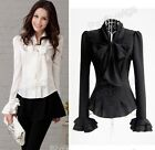 New Womens White Black Bow knot OL Shirt Slim Fit Tops Blouse Size S-XXL TS5