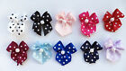 20 Spotted Satin Ribbon Bows with Pearl  - Polka Dot Choice of Colours