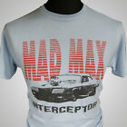Mad Max V8 Interceptor Retro Movie T Shirt V8 Car Pursuit Blue