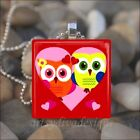 """""""OWLS IN LOVE"""" SOULMATE BEST FRIEND VALENTINES DAY HEART GLASS PENDANT NECKLACE"""