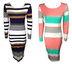 NEW LADIES CORAL NAVY STRIPED SCOOP NECK LONG SLEEVED JERSEY MIDI DRESS 8-14