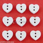 White Heart 15mm Wood Buttons Sewing Scrapbooking Cardmaking Craft NCB017-9