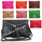 New Soft Faux Leather Tassel & Zips Envelope Evening Party Clutch Long Strap Bag
