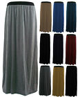 WOMENS LADIES PLUS SIZE 16-26 PLAIN LONG STRETCH JERSEY GYPSY MAXI SKIRT-BNWT