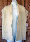 ROXY~ IVORY MARLED KNIT CARDIGAN SWEATER VEST TOP NEW B