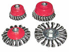 4pc ANGLE GRINDER TWIST KNOT ROUND WIRE CUP BRUSH & WHEEL SET FITS 115mm 4.5""