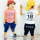 Korean Summer boys child kids Spring Elephant T-shirt & Short Pants Set 2-7 ys