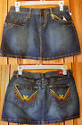 HOT KISS EMBROIDERED YELLOW BROWN GOLD STITCH TRIM DENIM MINI SKIRT HOT TOPIC T