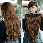 Stylish Girls Synthetic Curly Wavy Onepiece Clip Hair Extension Wig Hairpiece