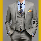 Mens Premium Slim fit 1BUTTON BEIGE CHECK Suit US-34R~40R size  -With Vest-s652