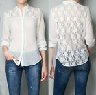 Womens Fashion T-Shirts Lace Chiffon Long Sleeve Top Blouses S M L Black White O