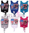 WOMENS LADIES MTV AMERICAN USA FLAG VEST CROP TOP TIE T SHIRT VEST SIZE 8 10 12