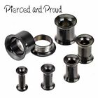 BLACK SURGICAL STEEL DOUBLE FLARED SCREW FIT EYELET PLUG / TUNNEL ~ 3 - 10mm
