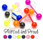 FLEXI PLASTIC / ACRYLIC TONGUE BAR / STUD + UV TRANSPARANT PLAIN COLOUR BALLS
