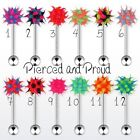 STEEL / ACRYLIC TONGUE BAR / STUD + SPIKEY KOOSH BALL ~ ALL COLOURS & SIZES