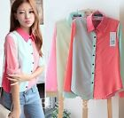 Block Color Womens OL Chiffon Lapel Long Sleeve Button Down Shirt Blouse Tops