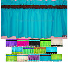 NEW Aqua Blue valance w BLACK or BROWN or PINK or GREEN rod POCKET lined