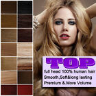 Clips In Remy Real 100% Human Hair Extensions DIY Full Head Set 8pcs HC From UK