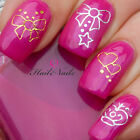 Nail Wraps Water Transfers Decal Gold & Silver Nail Art YD068 Bows Hearts Crown
