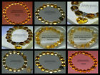 10mm CITRINE BEADED STRETCH BRACELET ~ .SILVER ~ GOLD ~ SPACERS ~ CHARMS