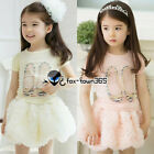 2017 Summer Kids Toddlers Baby Girl Princess Rose Tutu Skirt Party Dress 2-7Y