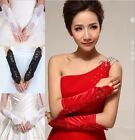 New Bride Wedding Party Dress Fingerless Pearl Lace Satin Bridal Gloves 4 colors