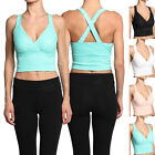 MOGAN Cross Back V-NECK LACE CROP TANK TOP Sleeveless Fitted Bralet Shirts
