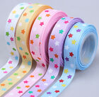 "5 yards 5/8"" funny bright star printed sewing gift grosgrain bow ribbon"