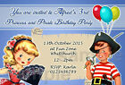 Personalised Birthday Party Invites Vintage Princess Pirate 1st 2nd 3rd 4th B20
